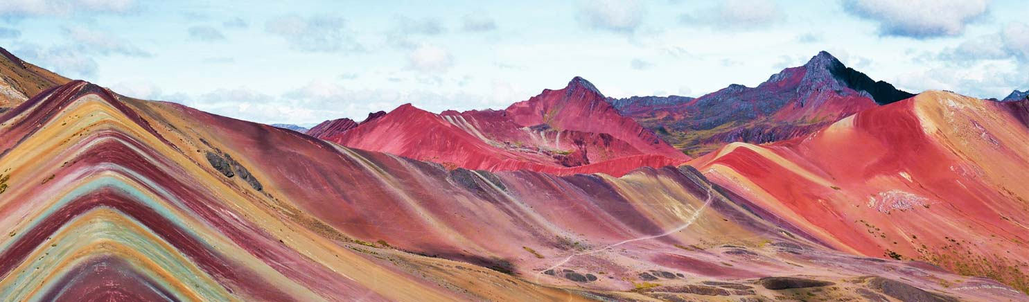 panoramic view of Rainbow Mountain Peru