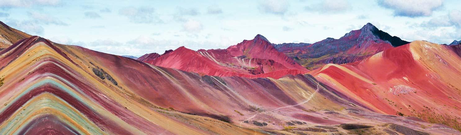 panoramic view of Rainbow Mountain Peru