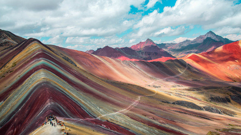 Great View From the Top of Vinicunca at Rainbow Mountain Peru